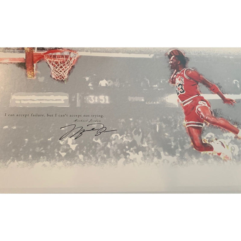 Michael Jordan Autographed Chicago Bulls Signed Basketball 12x24 1988 Gatorade Dunk Framed Photo Upper Deck UDA COA-Powers Sports Memorabilia