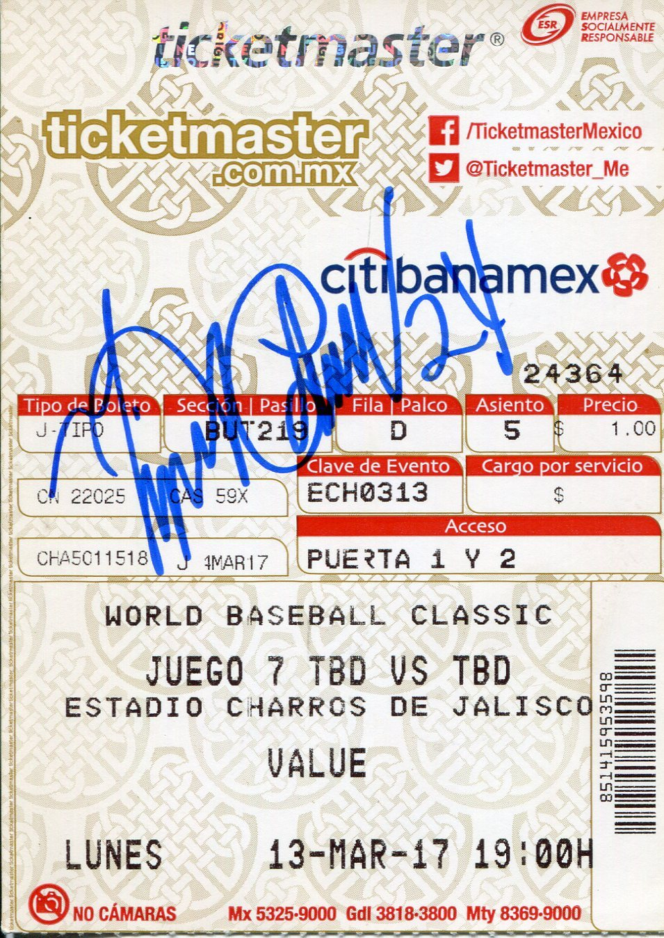 Miguel Cabrera Autographed 2013 World Baseball Classic Ticket (JSA) PSM-Powers Sports Memorabilia