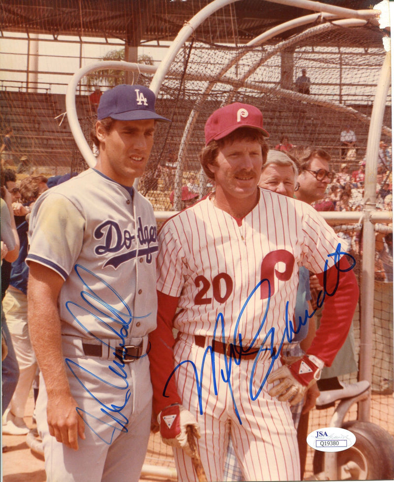 Mike Marshall and Mike Schmidt Autographed 8x10 Picture Philadelphia Phillies Los Angeles Dodgers PSM-Powers Sports Memorabilia