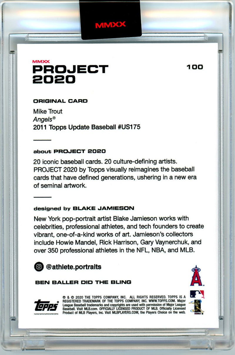 Mike Trout Los Angeles Angels Topps Project 2020 Blake Jamieson Baseball Rookie Card #US175 Design #100-Powers Sports Memorabilia