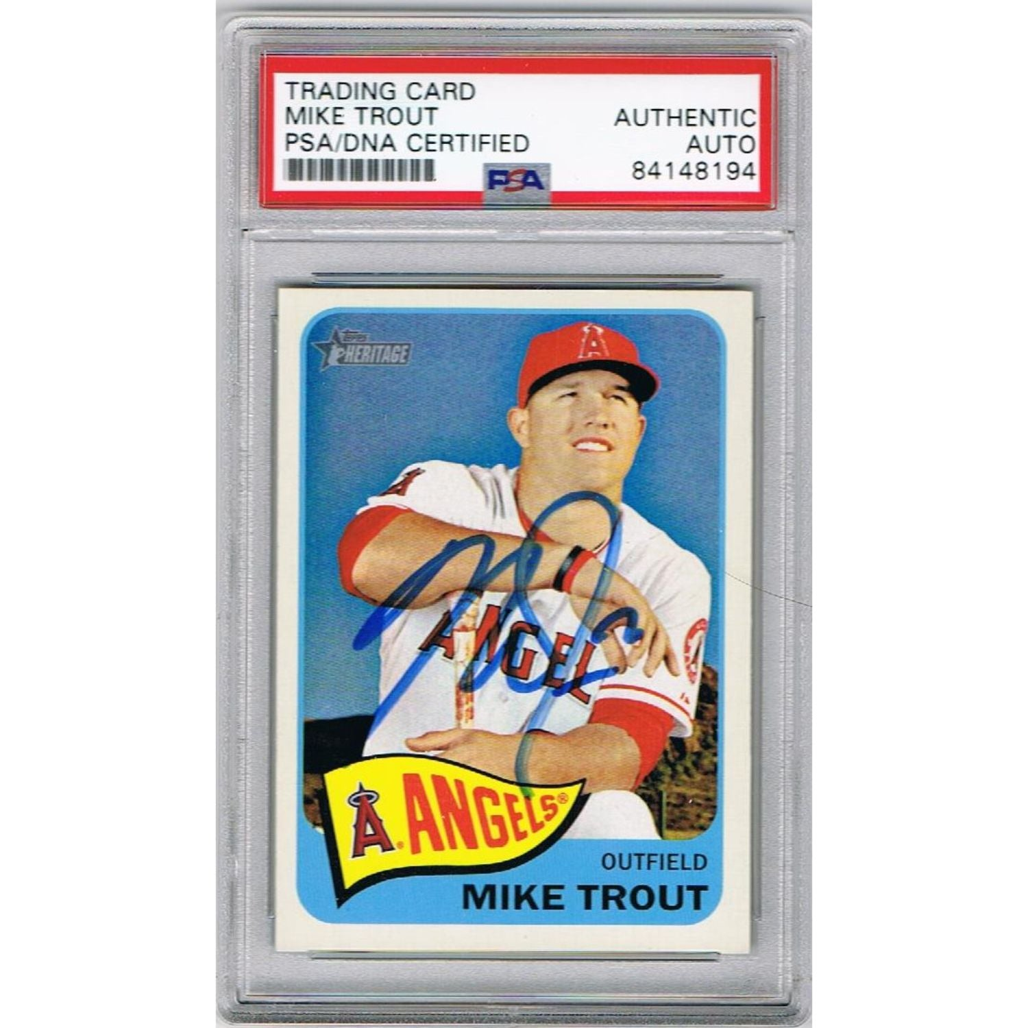 Mike Trout Los Angeles Angels Autographed 2014 Topps Heritage Signed Baseball Card PSA DNA COA-Powers Sports Memorabilia