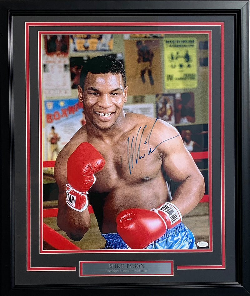 Mike Tyson Signed Framed Boxing 16x20 Kid Dynamite Photo JSA ITP PSM-Powers Sports Memorabilia