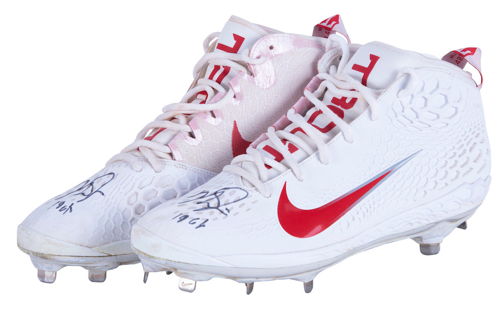 Mike Trout Signed Game Used 2019 MVP Los Angeles Angels Nike Baseball Cleats LOA PSM-Powers Sports Memorabilia