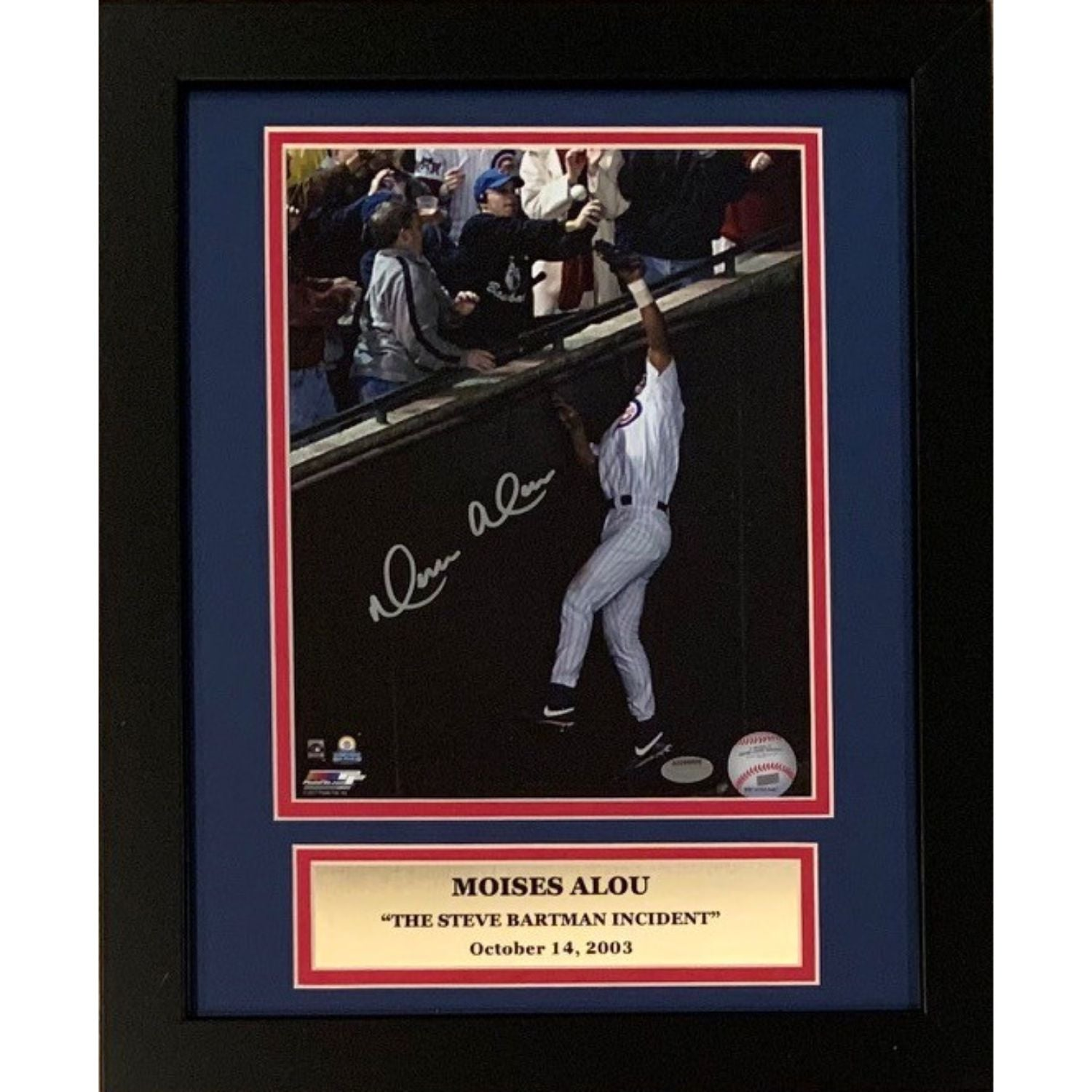 Moises Alou Chicago Cubs Autographed Steve Bartman Signed 8x10 Baseball Framed Photo Schwartz Sports COA-Powers Sports Memorabilia