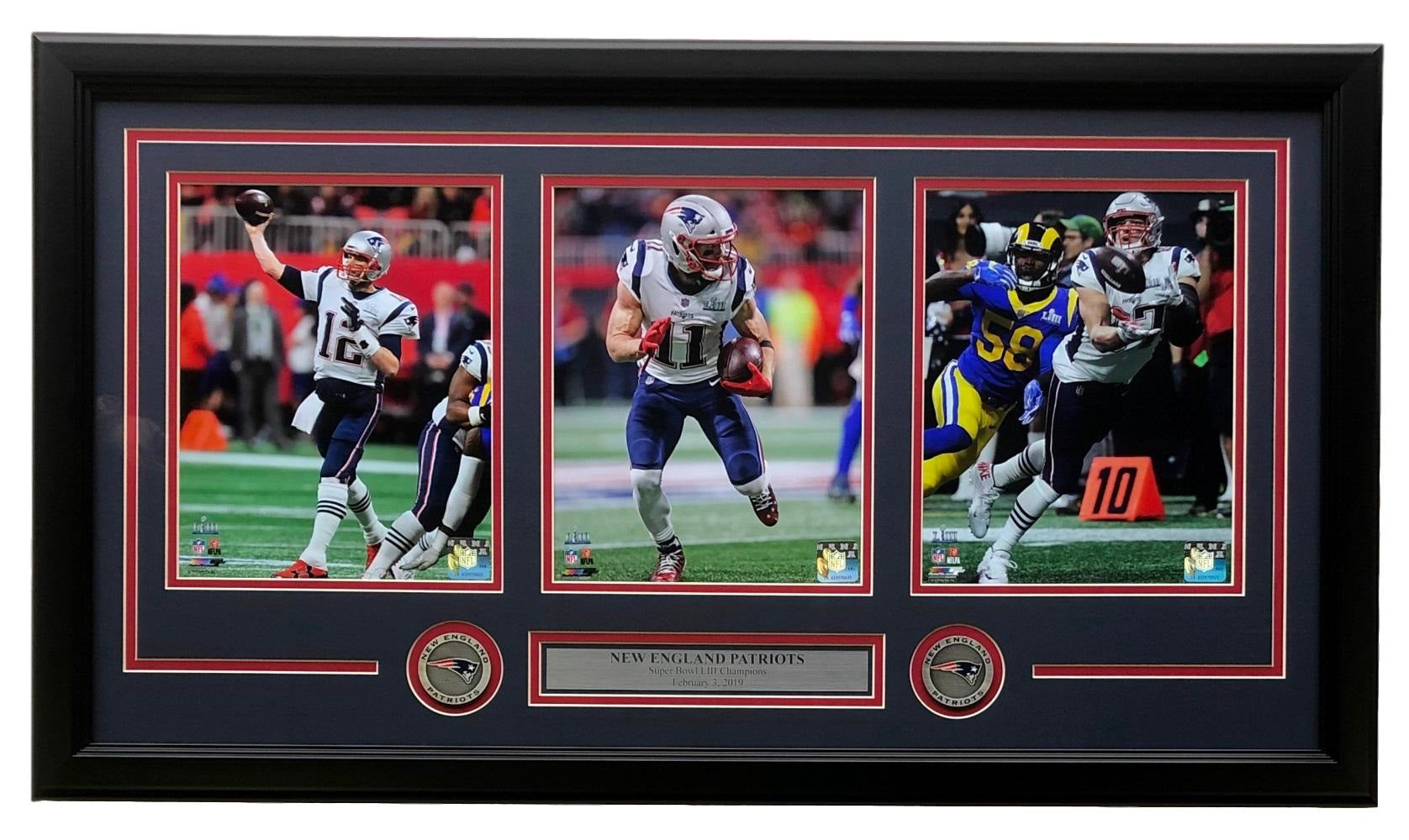 Brady Edelman Gronkowski Framed 35x18 Patriots Super Bowl LIII Moments Collage PSM-Powers Sports Memorabilia