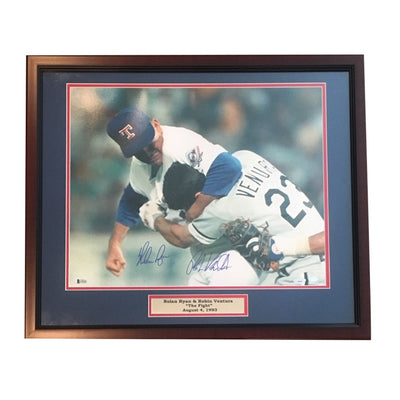 Nolan Ryan Robin Ventura Dual Autographed MLB Signed Baseball 16x20 Framed Fight Photo Beckett TRISTAR COA-Powers Sports Memorabilia