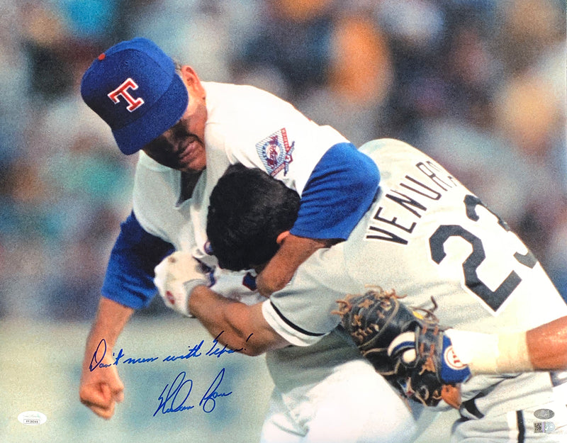 Nolan Ryan Signed Rangers 16x20 Photo Don't Mess With Texas Insc JSA+Ryan Holo PSM-Powers Sports Memorabilia