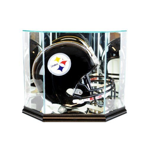 Octagon Full Size Football Helmet Glass Display Case-Black Base PSM-Powers Sports Memorabilia