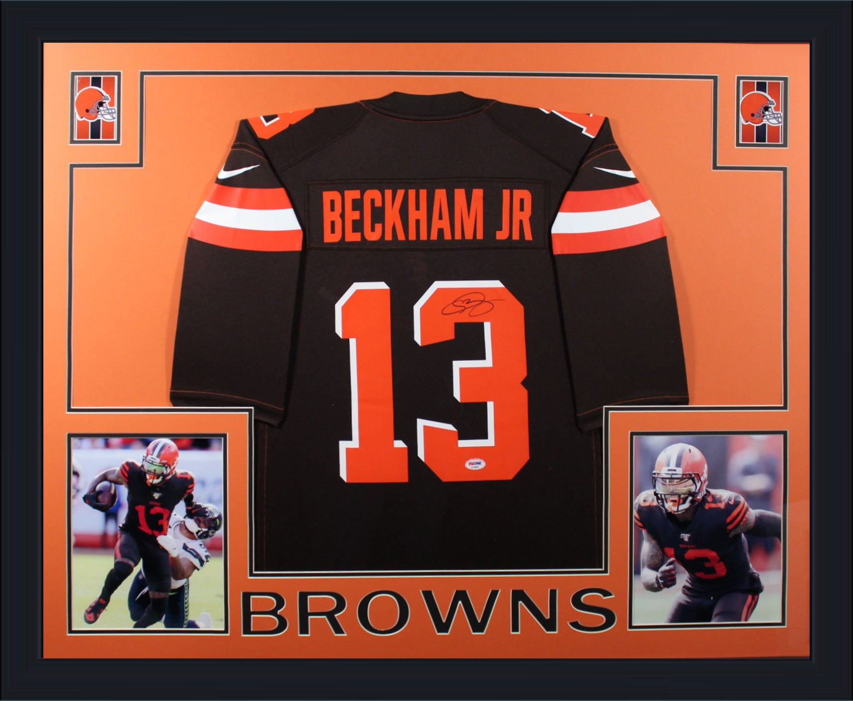 Odell Beckham Jr Autographed Cleveland Browns Signed Nike Game Football Framed Jersey PSA DNA COA-Powers Sports Memorabilia