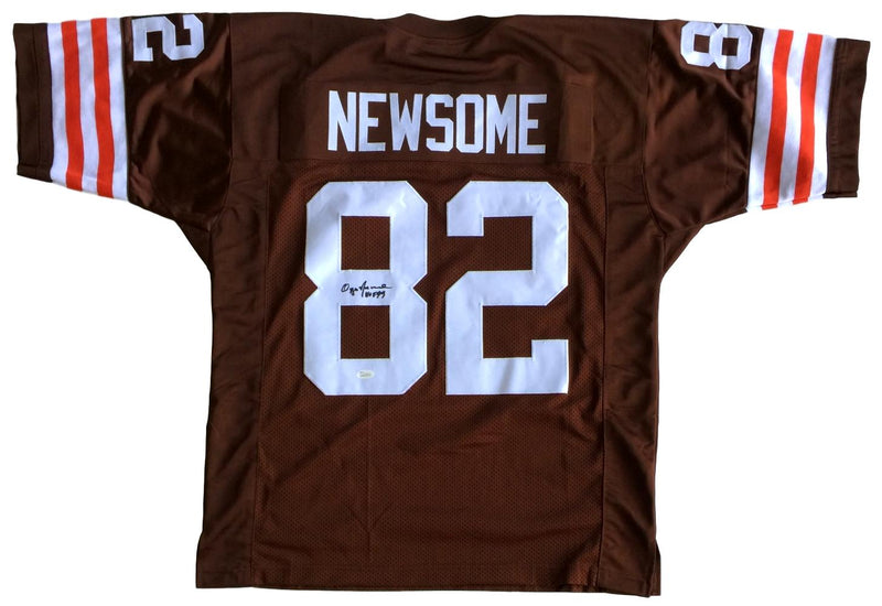Ozzie Newsome Signed Custom Brown Pro-Style Football Jersey HOF 99 JSA PSM-Powers Sports Memorabilia