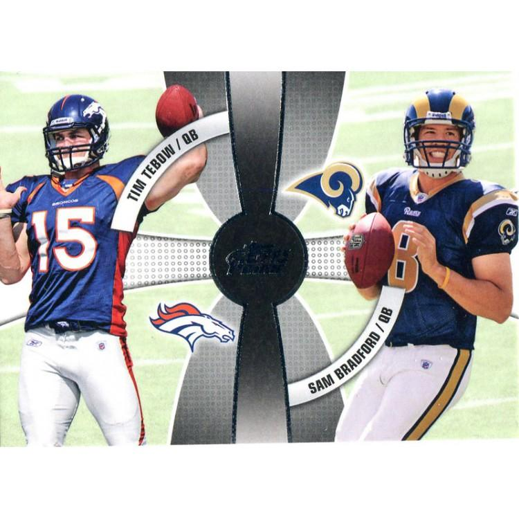 Tim Tebow and Sam Bradford Unsigned 2010 Topps Card PSM-Powers Sports Memorabilia