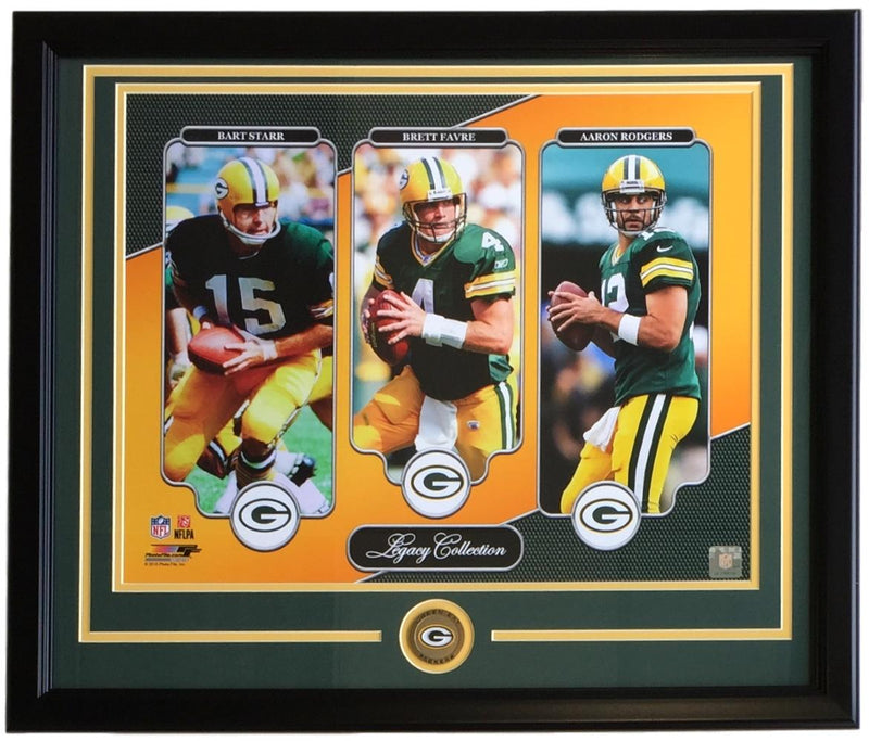 Starr Favre Rodgers Framed 16x20 Green Bay Packers Legends Photo PSM-Powers Sports Memorabilia
