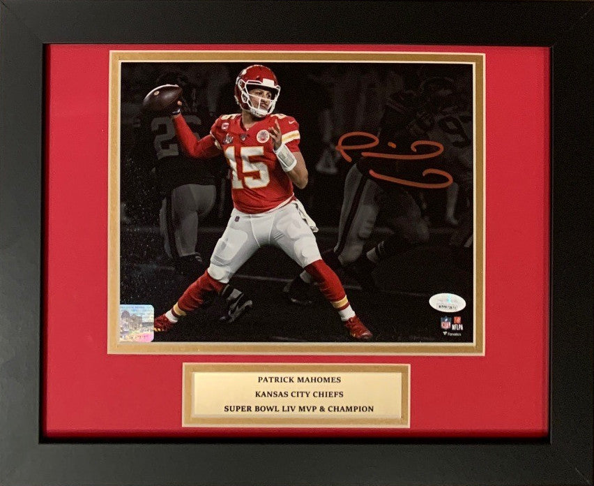 Patrick Mahomes Autographed Kansas City Chiefs Super Bowl LIV 54 Signed Football Framed 8x10 Photo JSA COA-Powers Sports Memorabilia