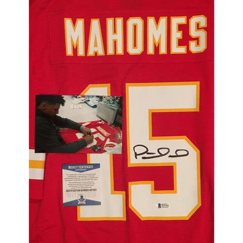 Patrick Mahomes Autographed Kansas City Chiefs Signed Nike Game Football Red XL Jersey BAS Beckett COA-Powers Sports Memorabilia