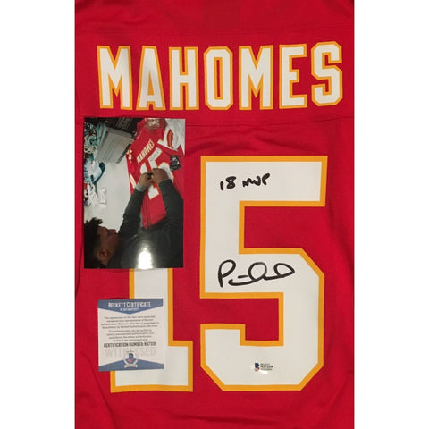 Patrick Mahomes Autographed Kansas City Chiefs Signed Nike Game Football Red XL Jersey 18 NFL MVP BAS Beckett COA-Powers Sports Memorabilia