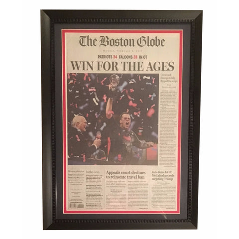 Tom Brady New England Patriots Football Super Bowl 51 LI Boston Globe Framed Newspaper Win For the Ages Photo-Powers Sports Memorabilia