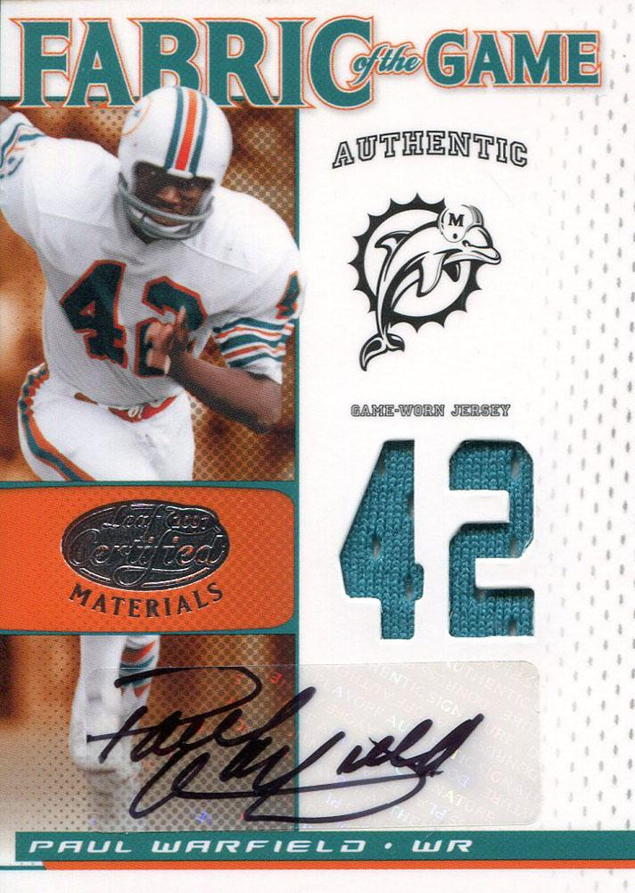 Paul Warfield Autographed 2007 Leaf Certified Jersey Card PSM-Powers Sports Memorabilia