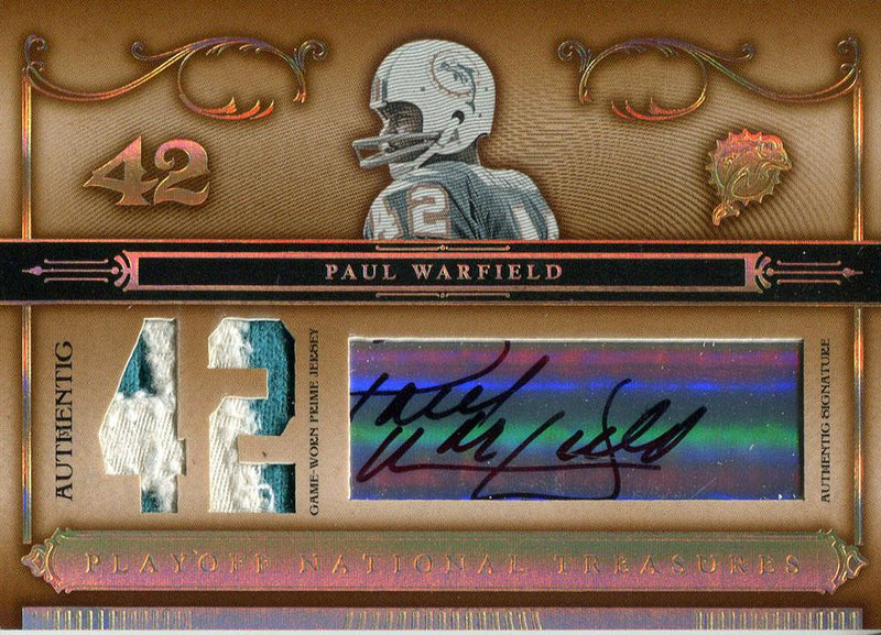 Paul Warfield Autographed 2006 Donurss Playoff National Treasures Jersey Card PSM-Powers Sports Memorabilia
