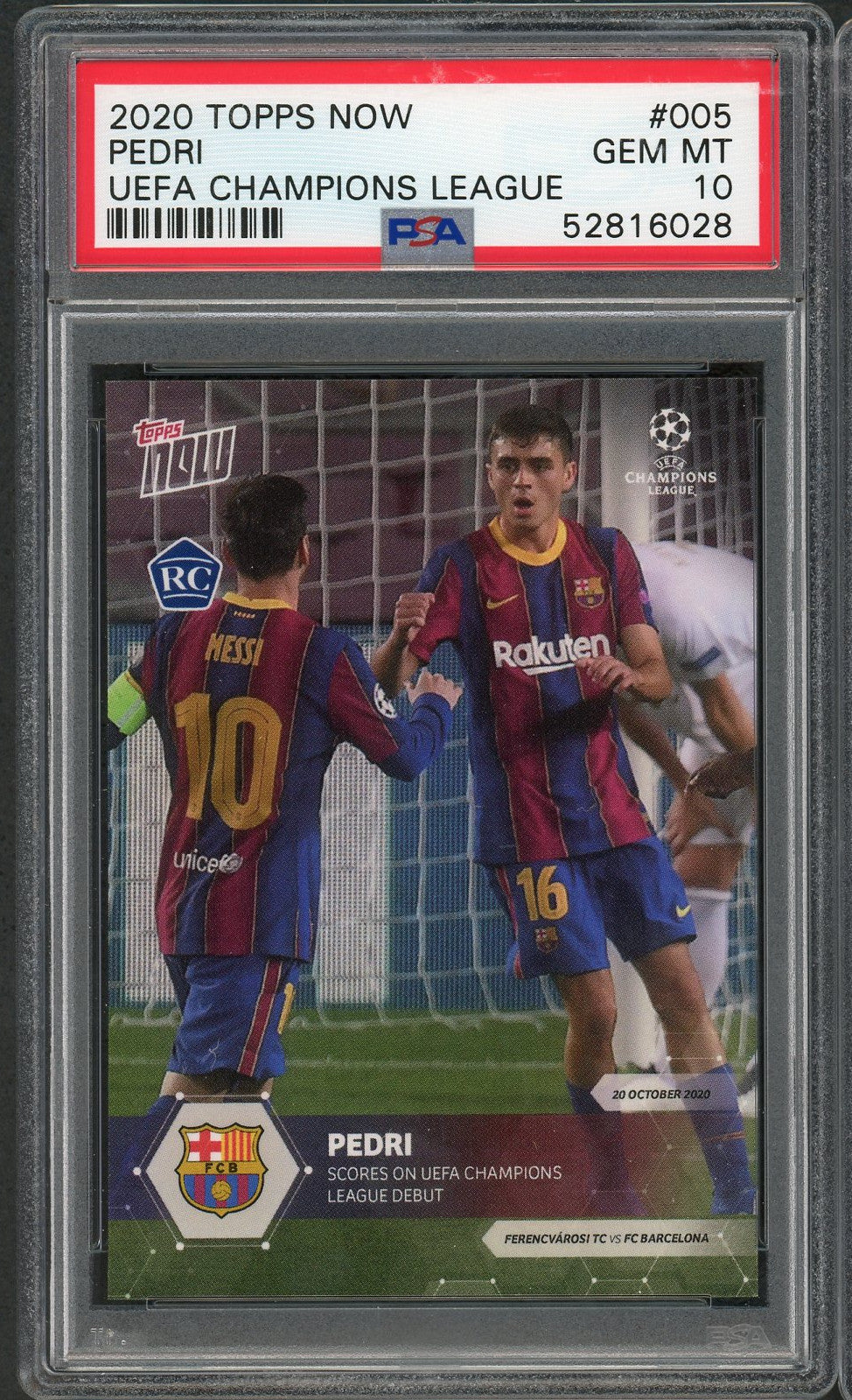 Pedri FC Barcelona 2020 Topps Now Soccer Rookie Card RC #005 Graded PSA 10 GEM MINT-Powers Sports Memorabilia