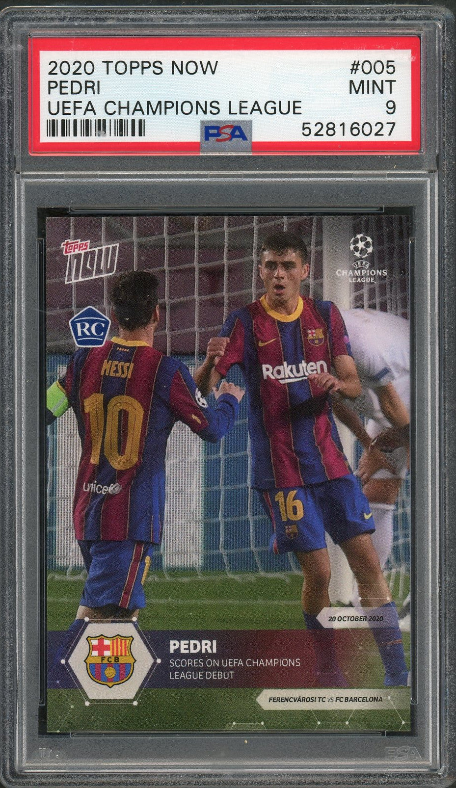 Pedri FC Barcelona 2020 Topps Now Soccer Rookie Card RC #005 Graded PSA 9 MINT-Powers Sports Memorabilia