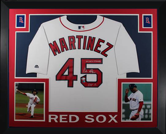 Pedro Martinez Autographed Boston Red Sox Signed Baseball Framed Jersey 2004 World Series HOF 15 Beckett BAS COA-Powers Sports Memorabilia