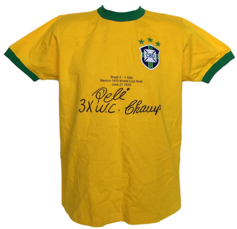 Pele Signed Brazil National Team Stat Jersey 3x WC Champ Inscribed PSA+SI PSM-Powers Sports Memorabilia