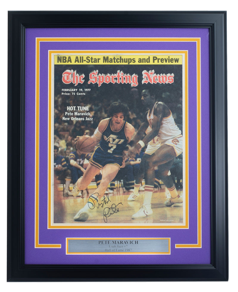 Pistol Pete Maravich Utah Jazz Signed Framed The Sporting News Cover JSA LOA PSM-Powers Sports Memorabilia