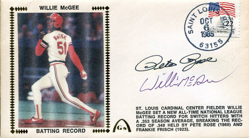Pete Rose & Willie McGee Autographed First Day Cover PSM-Powers Sports Memorabilia