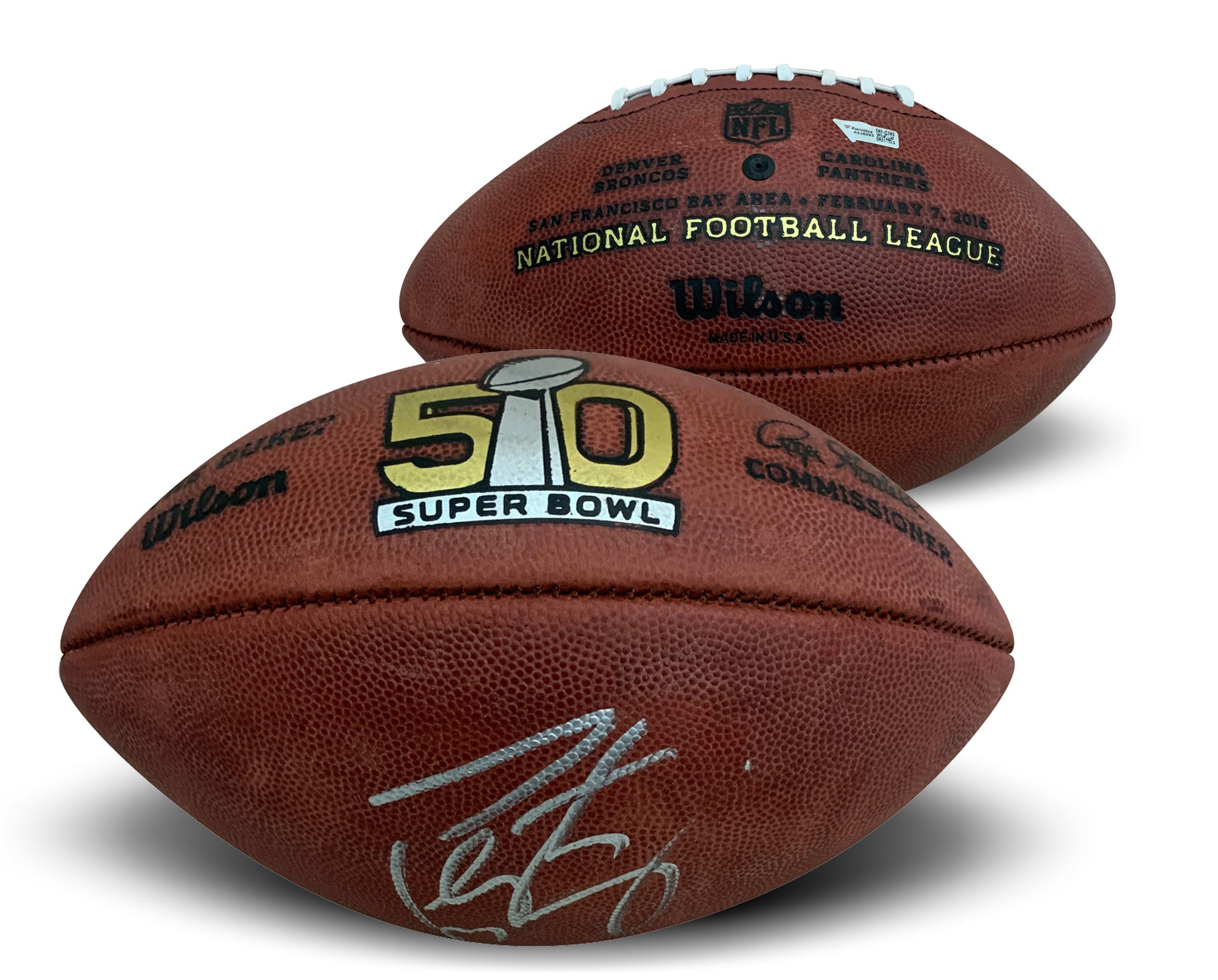 Peyton Manning Autographed Denver Broncos Super Bowl 50 Full Size Authentic Signed Football Fanatics COA-Powers Sports Memorabilia