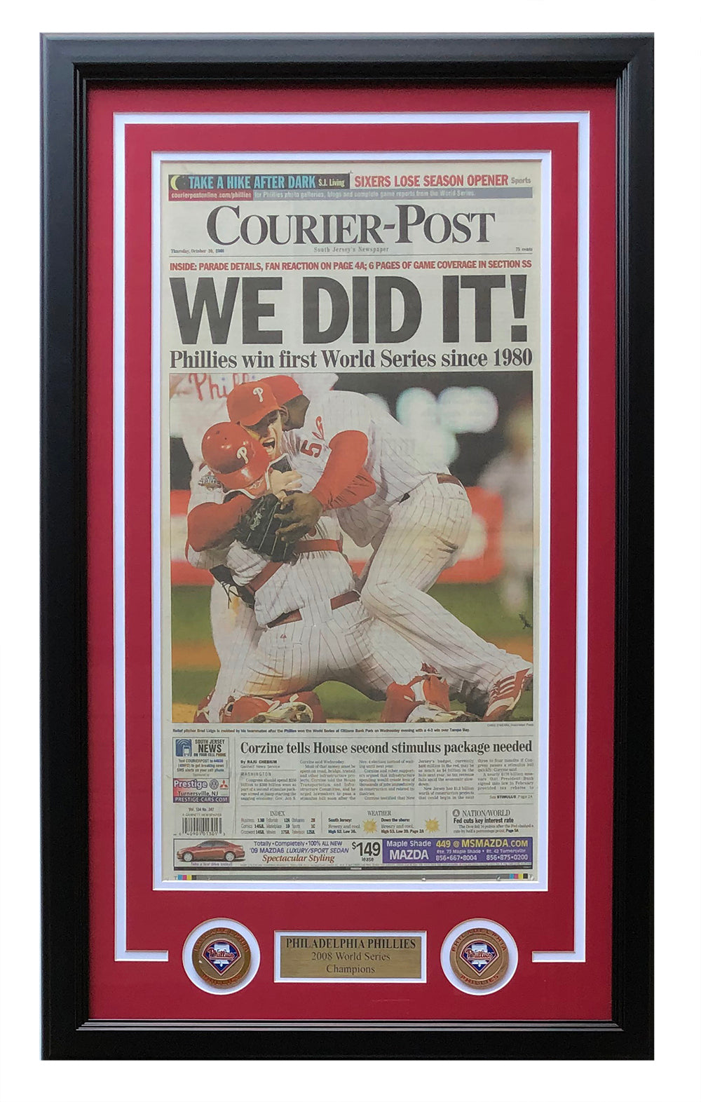 Philadelphia Phillies Framed October 30 2008 Courier Post Paper Sports Cover PSM-Powers Sports Memorabilia