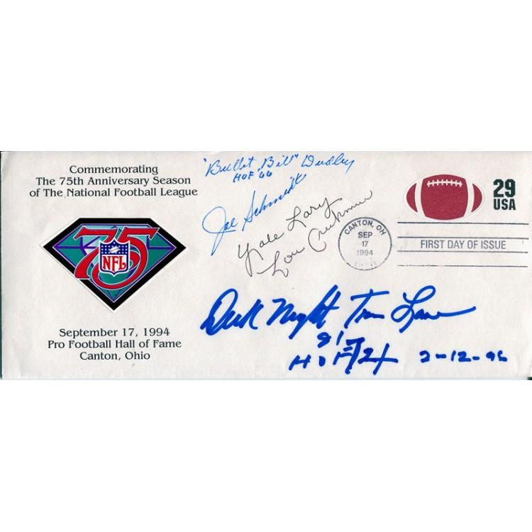 Bullet Bill Dudley, Joe Schmidt, Yale Lary, Lou Creekmore, and Dick Night Train Lane Autographed 1994 First Day of Issue Cache PSM-Powers Sports Memorabilia