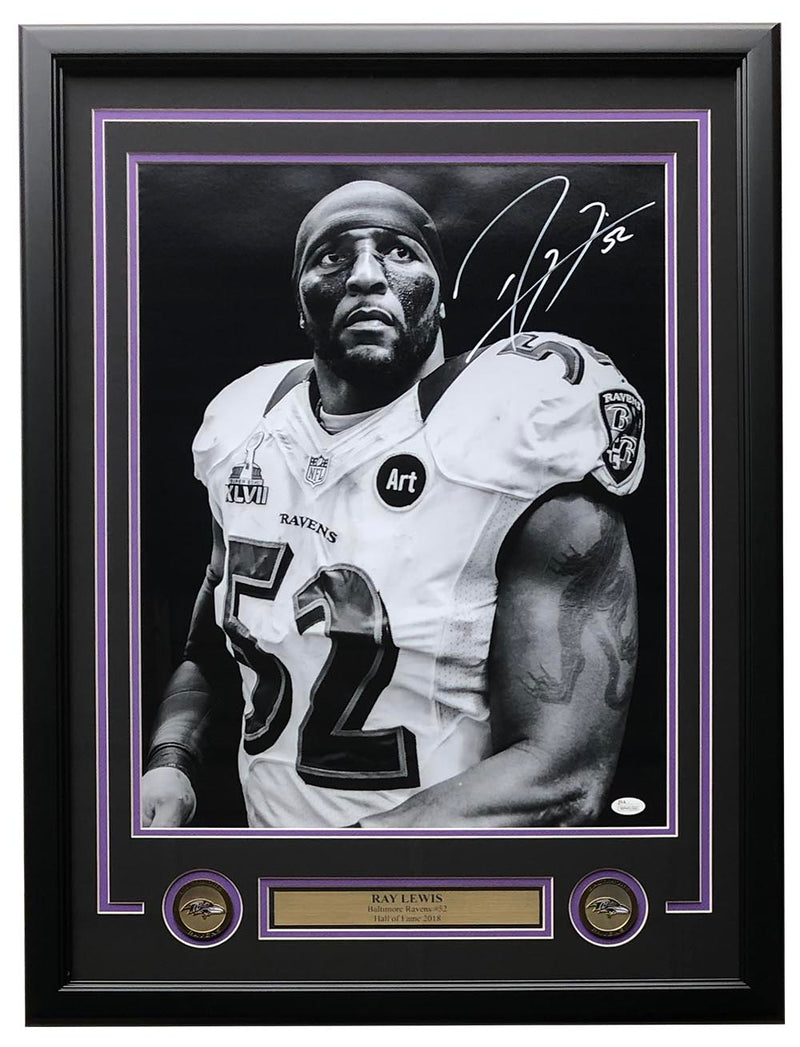 Ray Lewis Signed Framed Baltimore Ravens 16x20 Photo JSA ITP PSM-Powers Sports Memorabilia