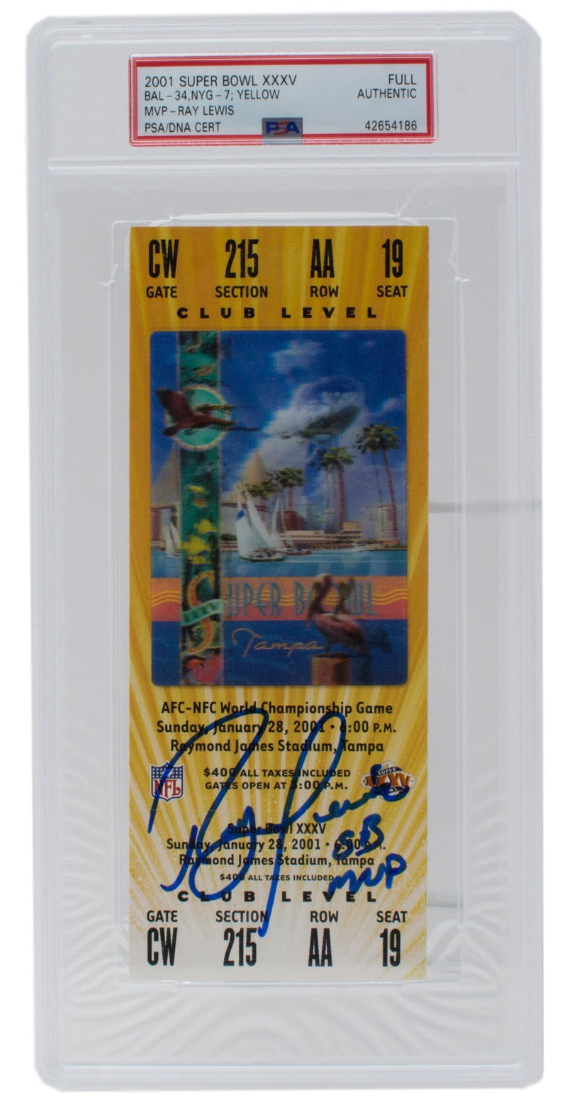 Ray Lewis Ravens Signed Super Bowl XXXV Full Yellow Ticket Slabbed PSA PSM-Powers Sports Memorabilia