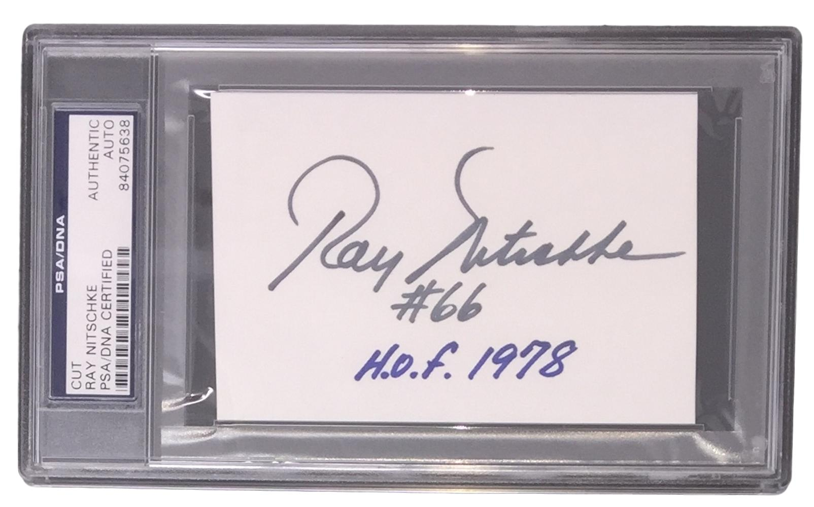 Ray Nitschke Green Bay Packers Signed Slabbed Cut Signature PSA 84075638 PSM-Powers Sports Memorabilia