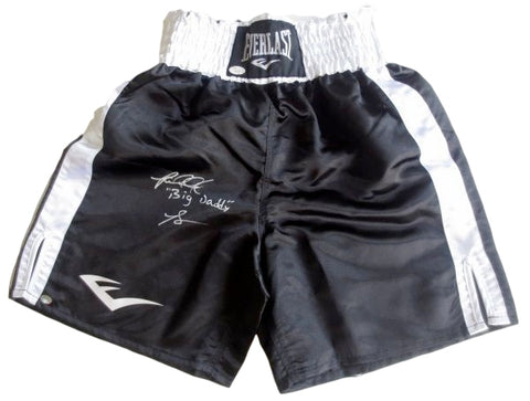 Riddick Bowe Signed Black Everlast Boxing Trunks Big Daddy JSA/SI PSM-Powers Sports Memorabilia