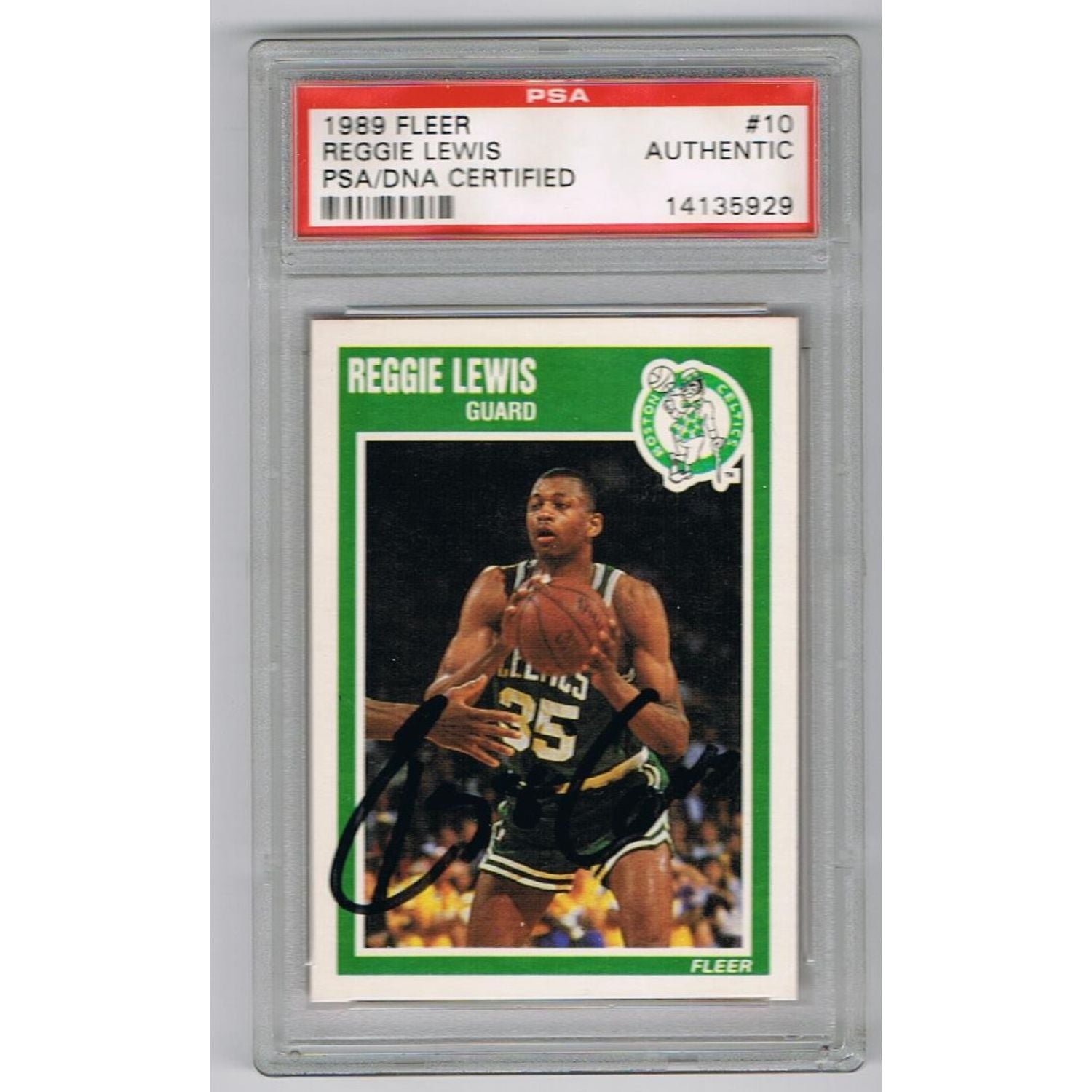 Reggie Lewis Autographed Boston Celtics Signed 1989 Fleer NBA Basketball Rookie Card PSA DNA COA-Powers Sports Memorabilia