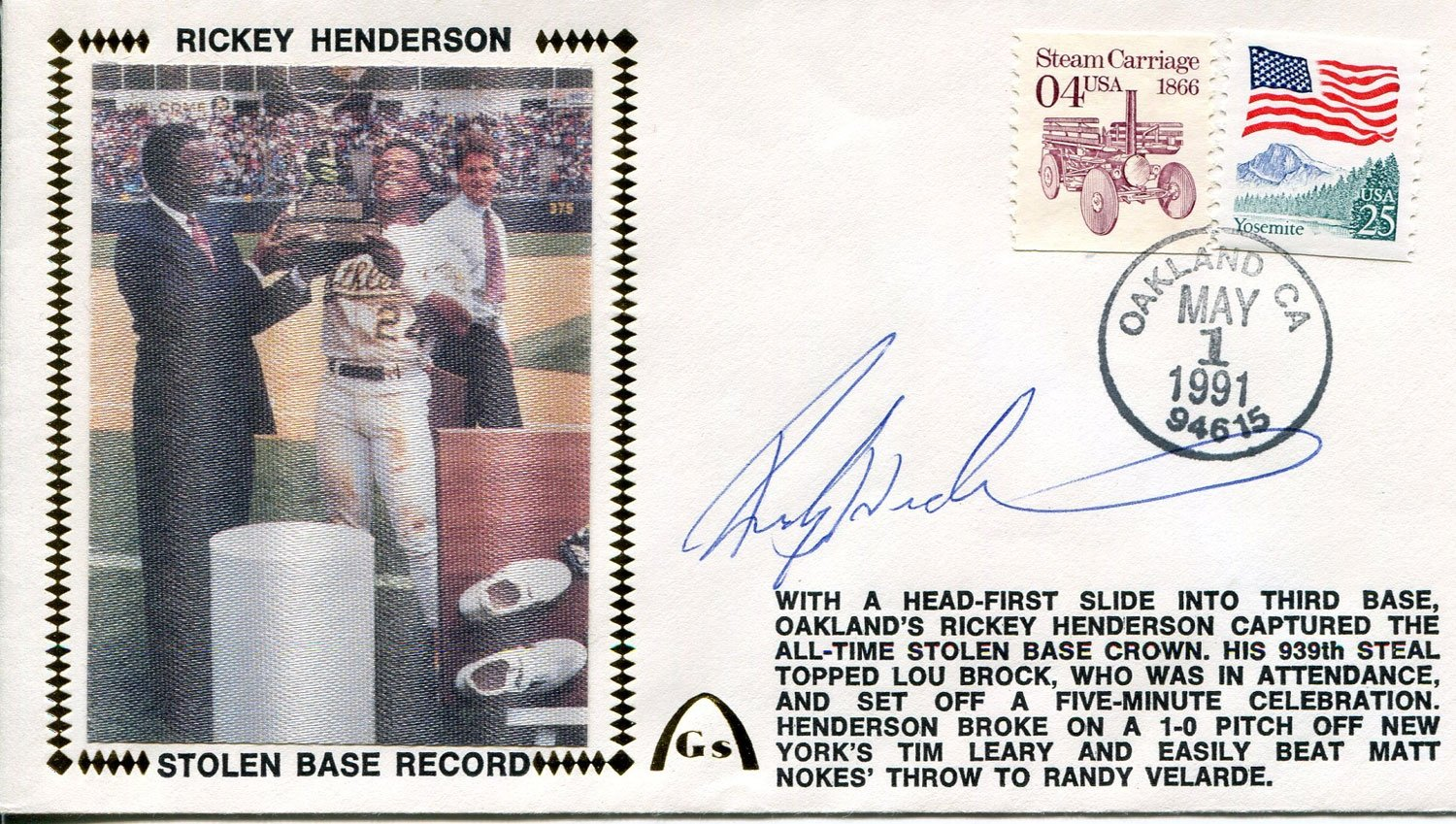Rickey Henderson Autographed 1st Day Cover (JSA) PSM-Powers Sports Memorabilia