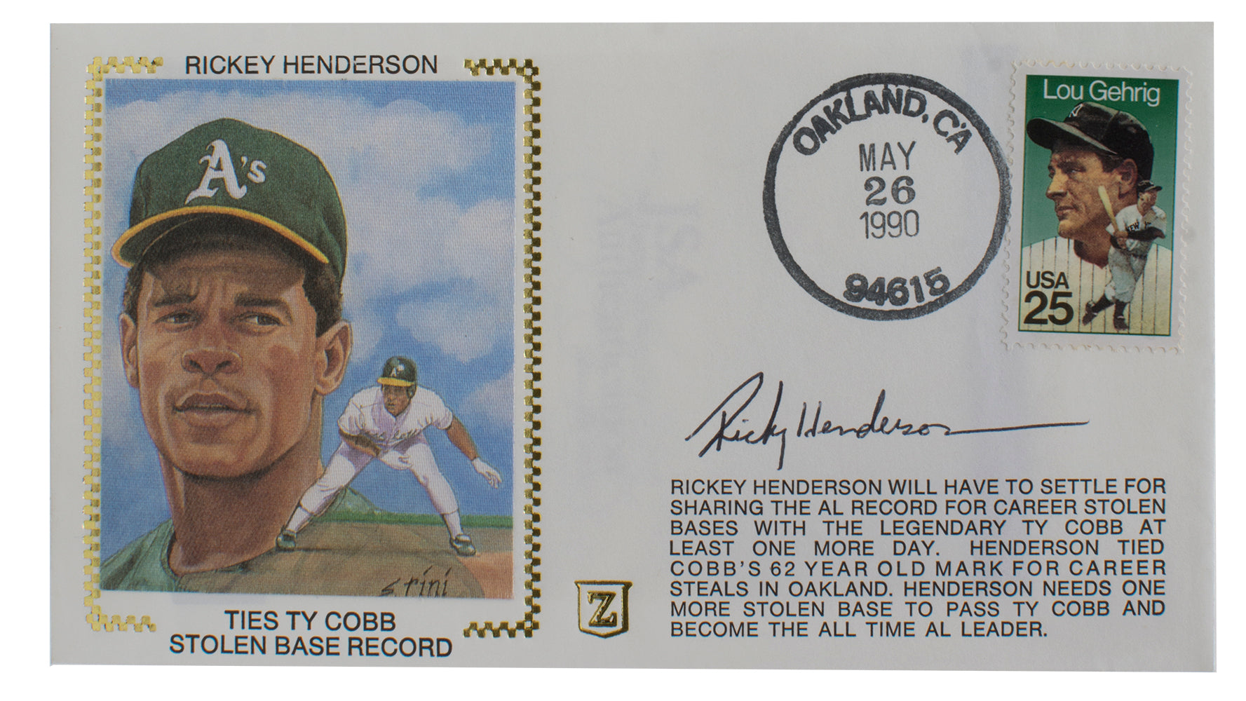 Ricky Henderson Athletics Signed First Day Cover Silk Cachet Envelope JSA PSM-Powers Sports Memorabilia