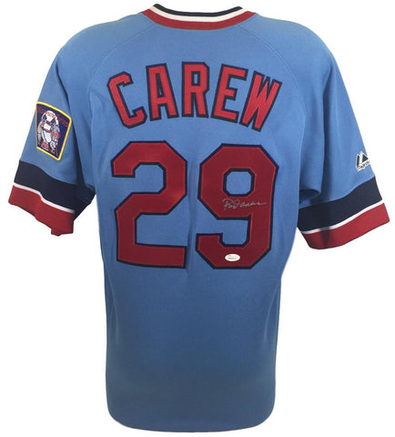Rod Carew Signed Minnesota Twins Cooperstown Collection Jersey w/ Patch JSA PSM-Powers Sports Memorabilia