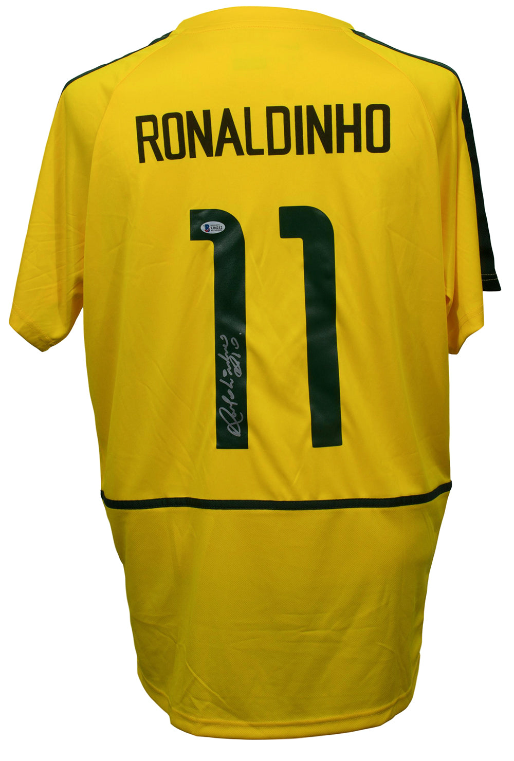 Ronaldinho Signed Brazil Soccer Jersey Rio Inscribed BAS PSM-Powers Sports Memorabilia