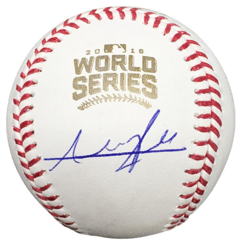 Addison Russell Cubs Signed 2016 WS Baseball w/ Free Ball Cube BAS PSM-Powers Sports Memorabilia
