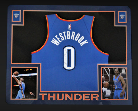 Russell Westbrook Autographed Oklahoma City Thunder Signed Nike Swingman Basketball Jersey Framed PSA DNA COA-Powers Sports Memorabilia