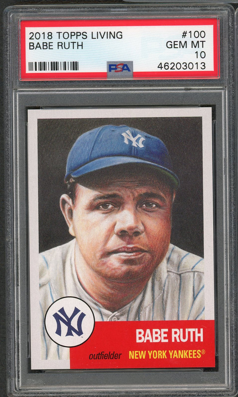 Babe Ruth New York Yankees 2018 Topps Living Baseball Card #100 Graded PSA 10 GEM MINT-Powers Sports Memorabilia