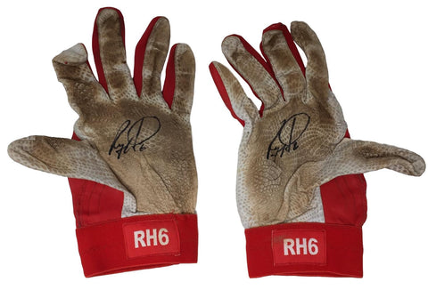 Ryan Howard Signed Game Used Phillies Batting Gloves 8 BAS+Howard LOA PSM-Powers Sports Memorabilia