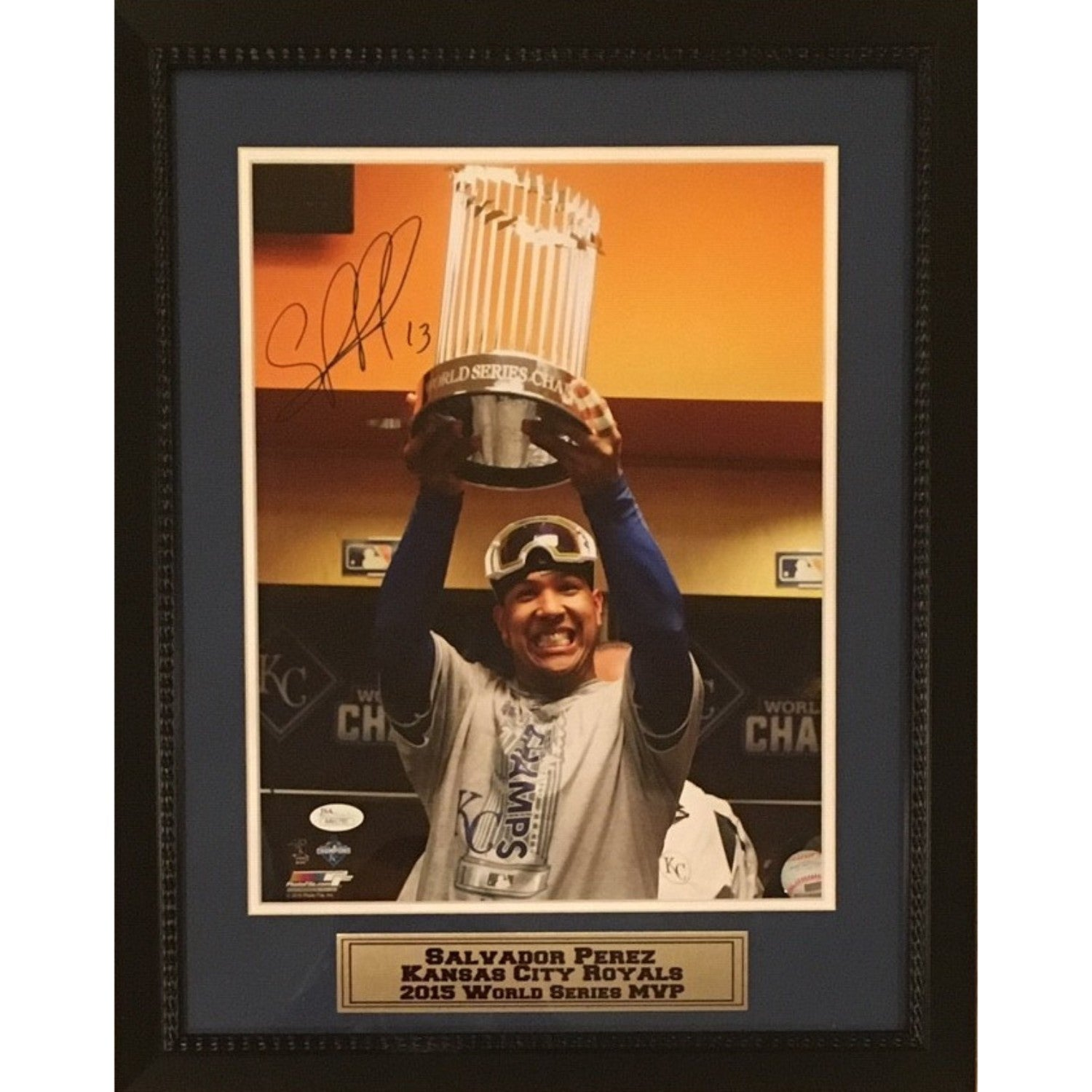 Salvador Perez Kansas City Royals Autographed 2015 World Series MVP Signed 11x14 Framed Baseball Photo JSA COA-Powers Sports Memorabilia