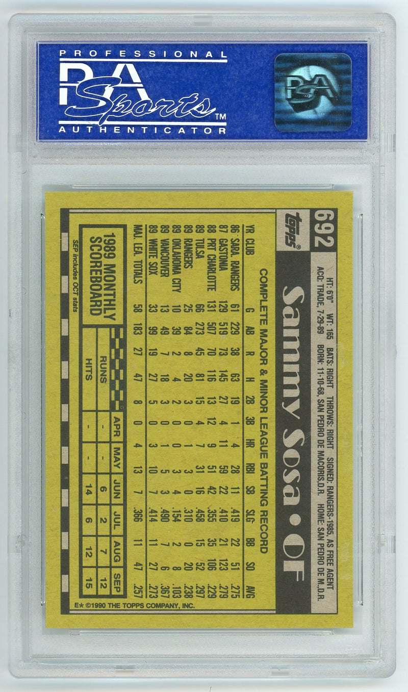 Sammy Sosa Chicago White Sox 1990 Topps #692 Baseball Rookie Card RC Graded PSA 10 GEM MINT-Powers Sports Memorabilia