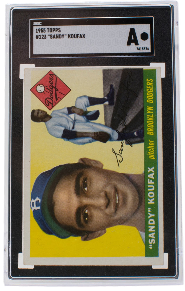 Sandy Koufax 1955 #123 Topps Brooklyn Dodgers Rookie Card Slabbed SGC Auth PSM-Powers Sports Memorabilia