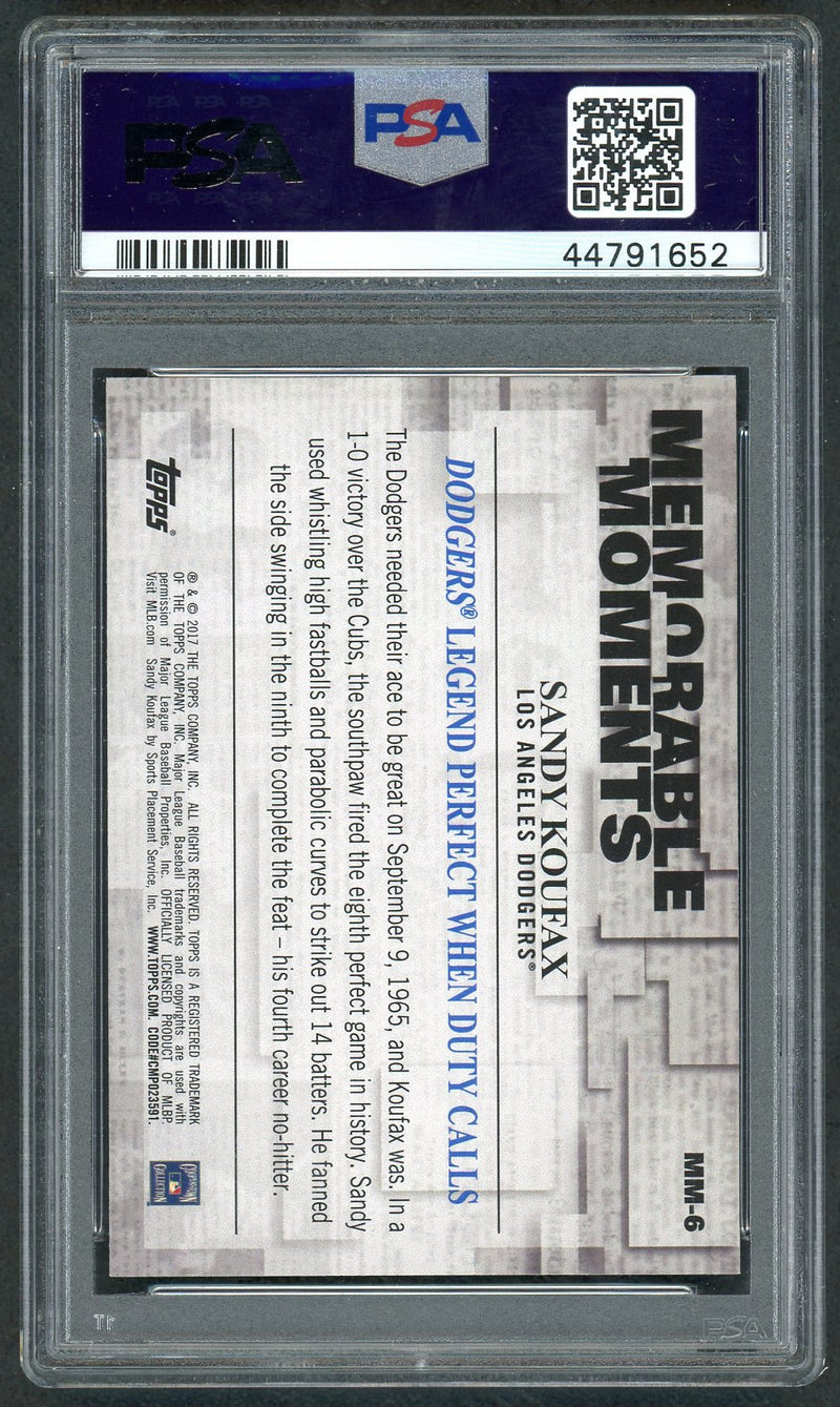 Sandy Koufax Los Angeles Dodgers 2017 Topps Perfect Game Baseball Card #MM-6 Graded PSA 10 GEM MINT-Powers Sports Memorabilia