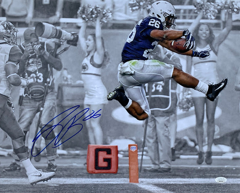 Saquon Barkley Signed 16x20 Penn State Touch Down Spotlight Photo JSA PSM-Powers Sports Memorabilia