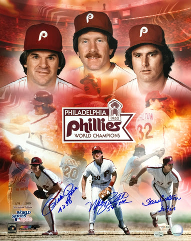 Pete Rose Mike Schmidt Steve Carlton Signed 16x20 Phillies Photo Fanatics PSM-Powers Sports Memorabilia